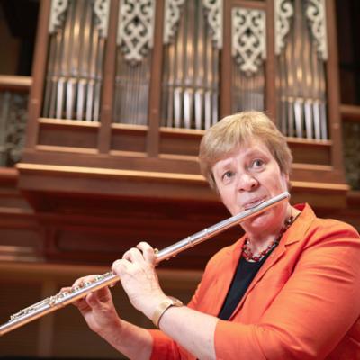 Elizabeth Koch Playing flute
